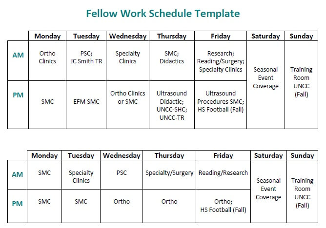 Sports Medicine Fellowship Work Schedule