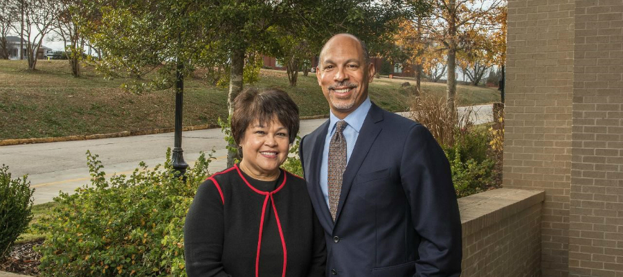 Eugene A. Woods, president and chief executive officer of Atrium Health, and Ninfa Saunders, president and chief executive officer of Navicent Health, signed the definitive agreement for the strategic combination of their organizations in December 2018.