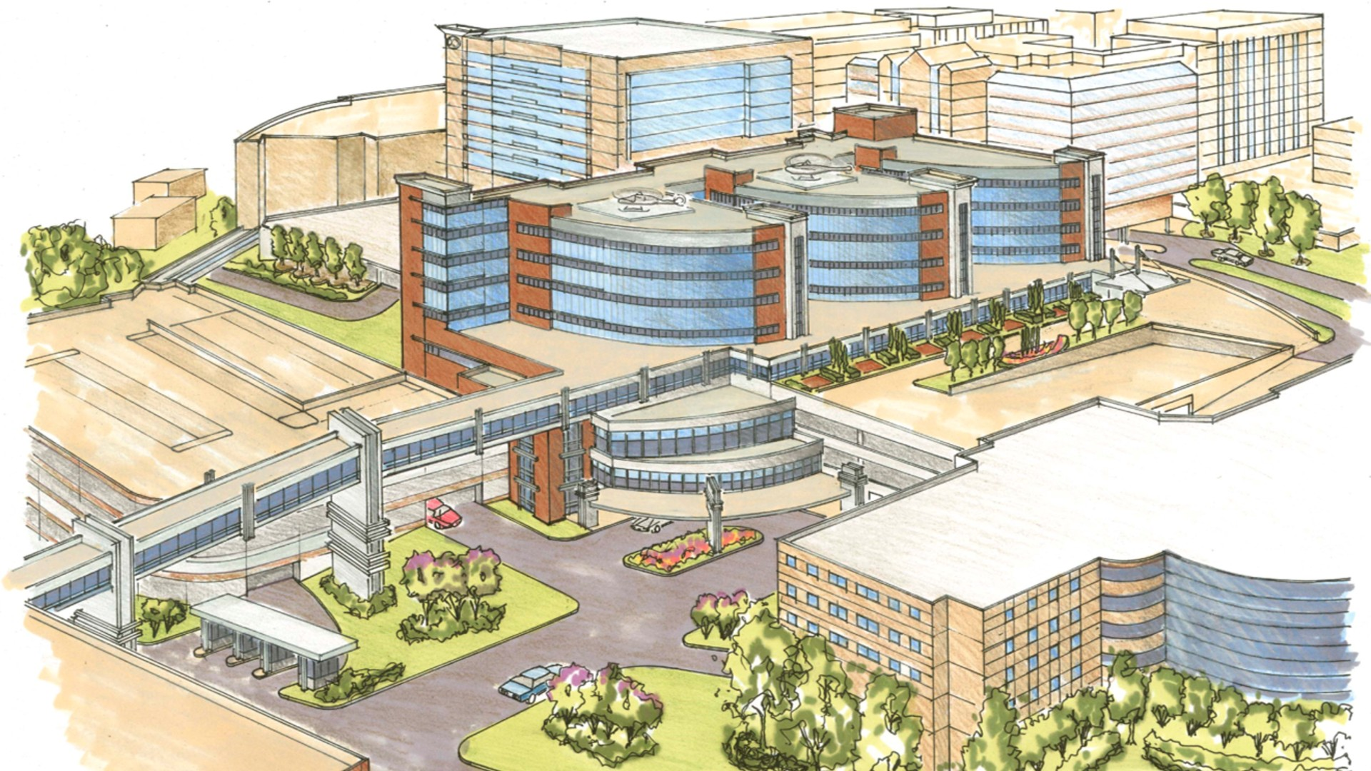 A rendering of a new care tower at Wake Forest Baptist Medical Center which represents expanded access to critical services to the Winston-Salem community.
