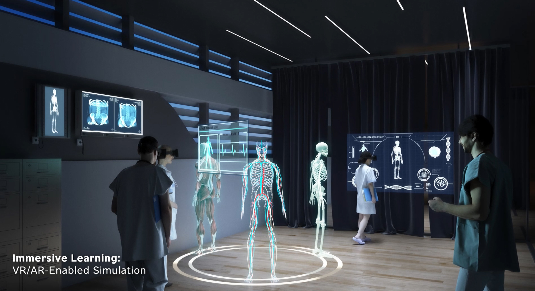 As part of a strategic combination between Atrium Health and Wake Forest Baptist Health, medical students in the future will learn in an advanced simulation center at the Wake Forest School of Medicine, employing the latest virtual reality and artificial intelligence technologies to advance medical science.