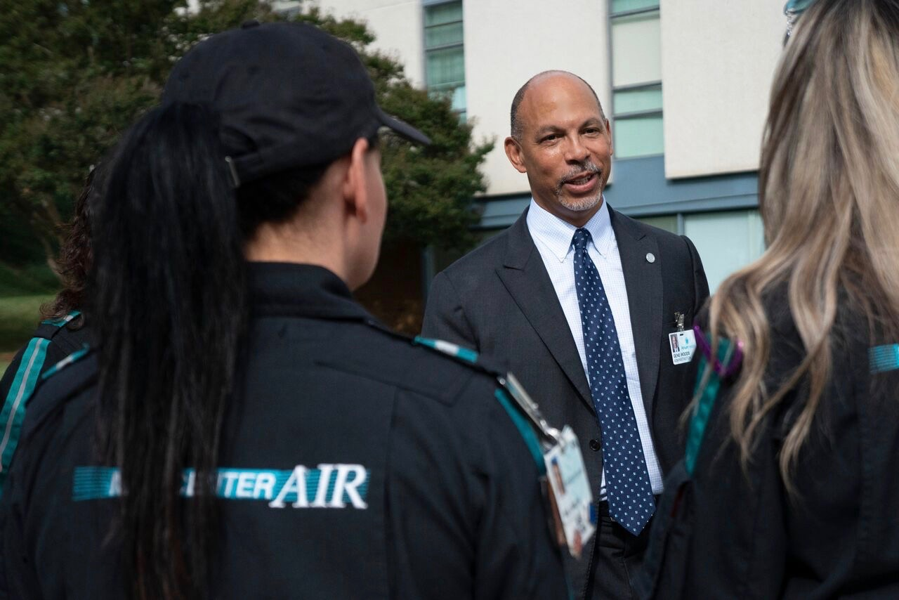Gene meets with members of the MedCenter Air team as the prepare for any deployments necessary during Hurricane Florence