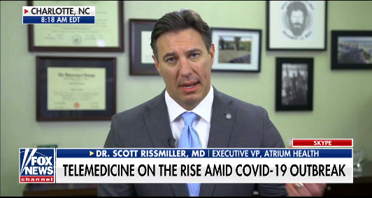 Dr. Scott Rissmiller announces new Atrium Health telehealth program during COVID-19 outbreak on Fox News' Fox & Friends
