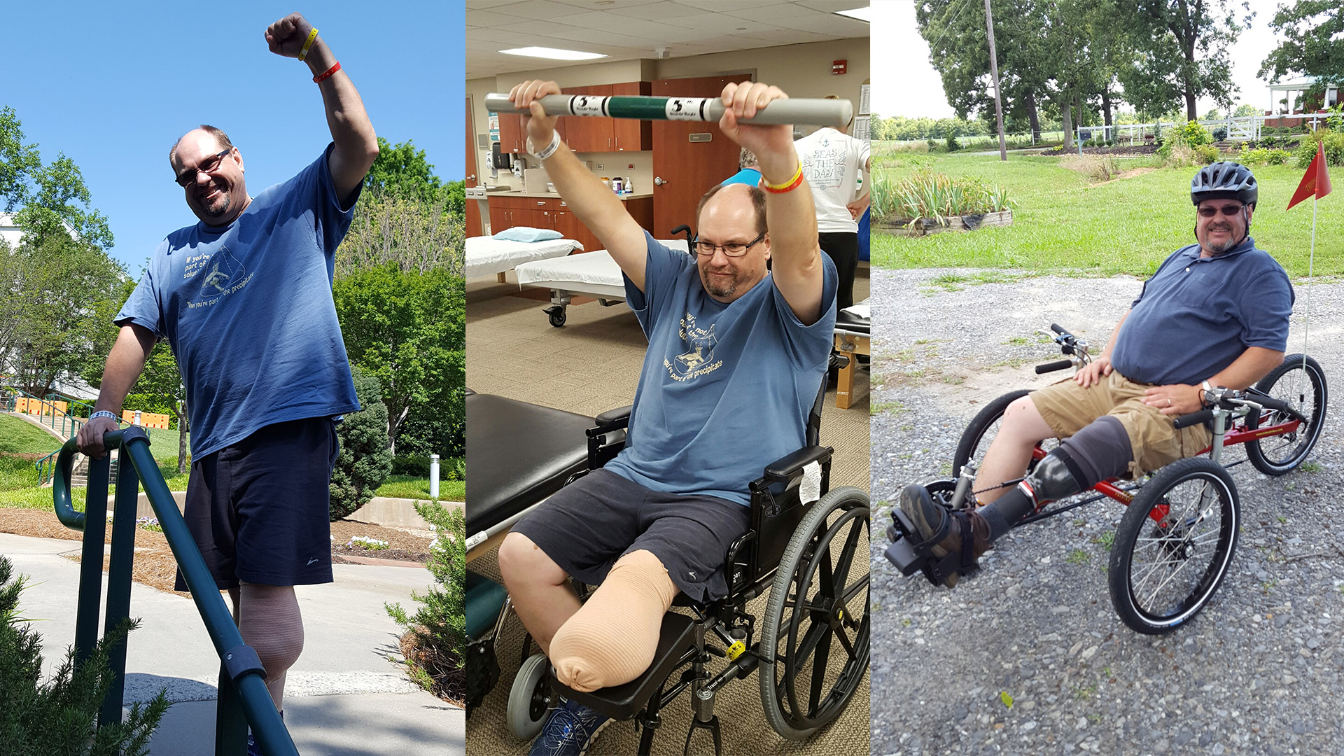 Two years ago, Bruce Bridges lost his leg to osteosarcoma. But after a successful stint at Atrium Health's Carolinas Rehabilitation, this motivated 7th grade science teacher is taking part in 24 Hours of Booty to inspire others battling cancer.