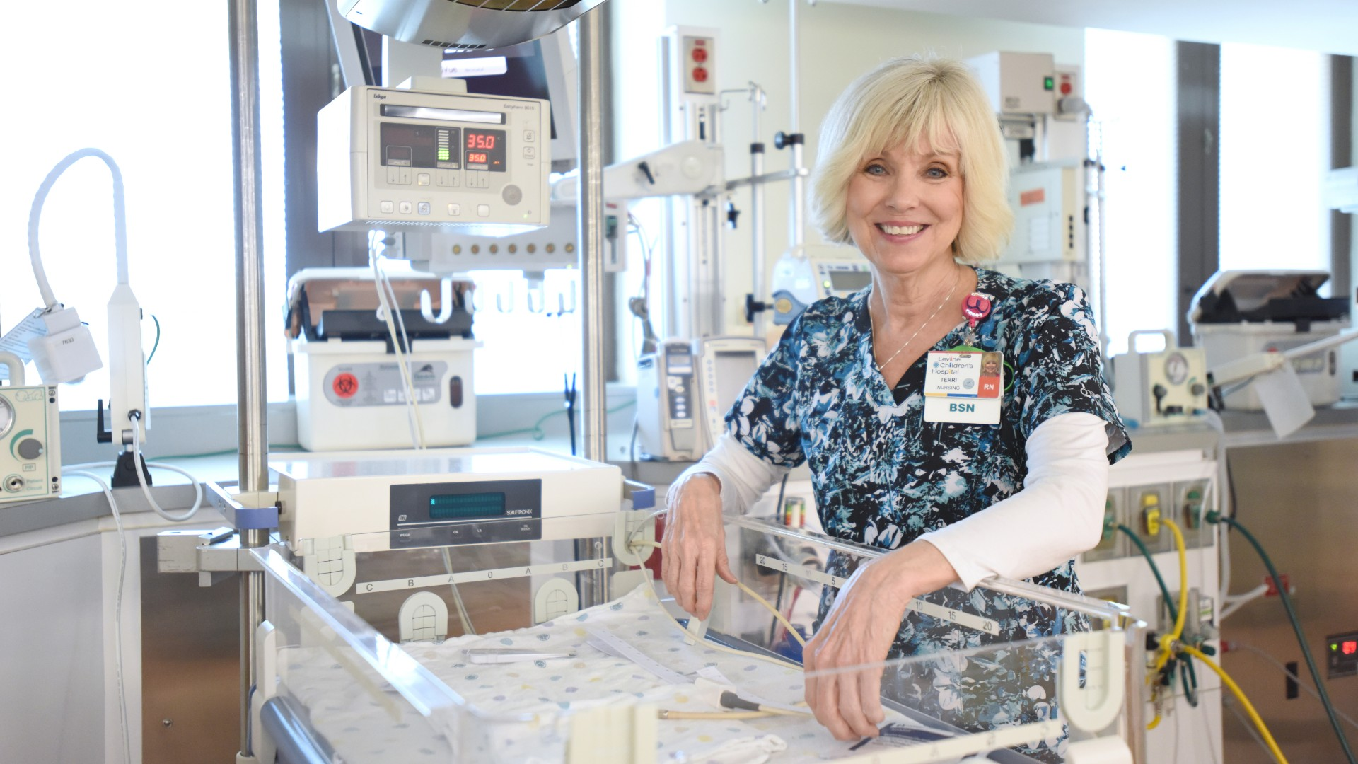 "Terri Richards, BSN, RN, at Atrium Health's Levine Children's Hospital, has spent more than 40 years as a nurse. ""It's not been a career, it's a calling for me,"" Richards says."