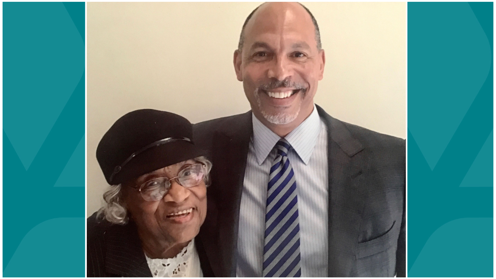 Atrium Health President and CEO Eugene A. Woods with Thereasea Clark Elder, one of the first Black public health nurses in the Queen City