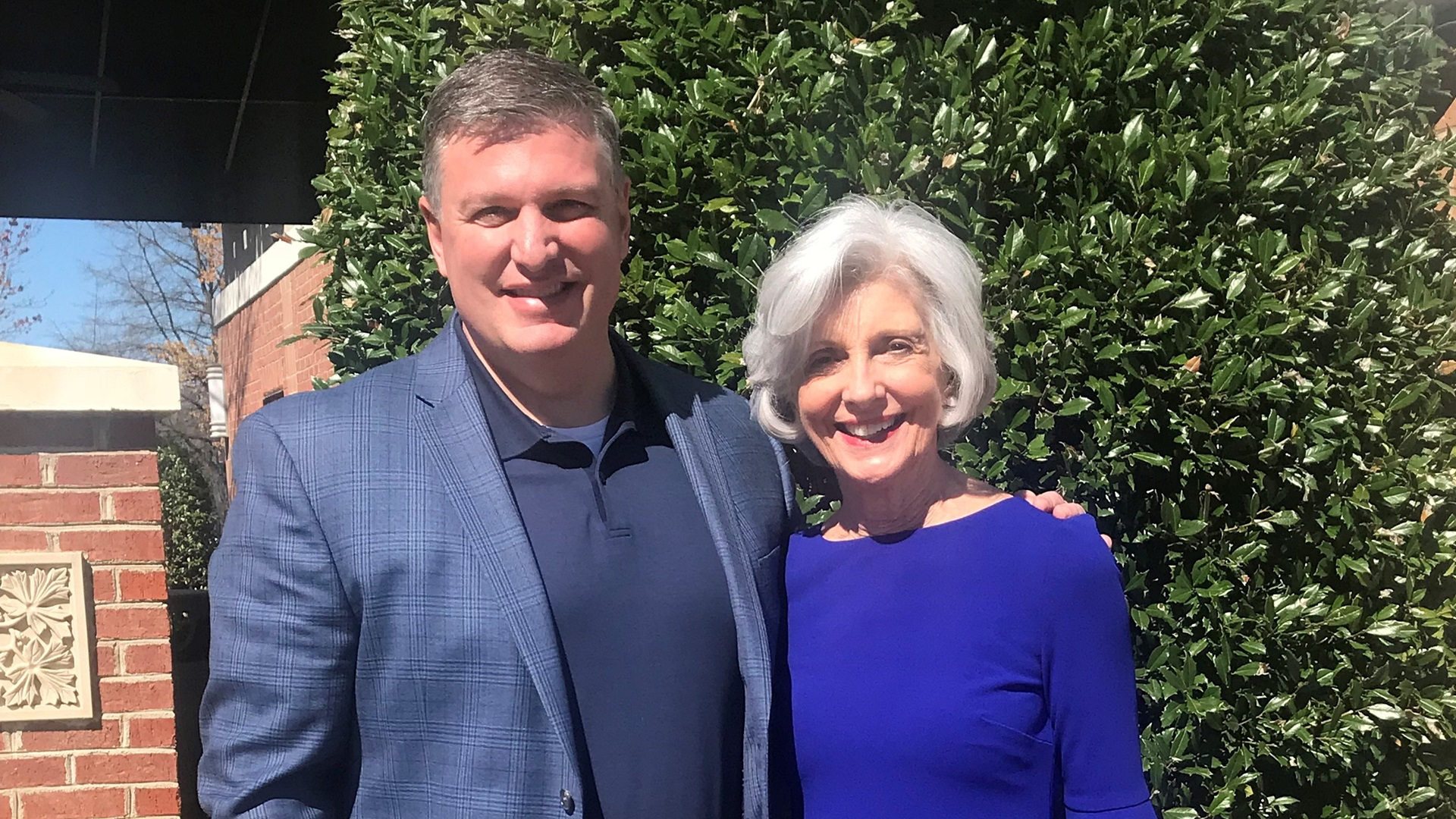Michael Mullowney, VP of Carolinas HealthCare System neurosciences with his mother, Mary, who suffers from Trigeminal Neuralgia
